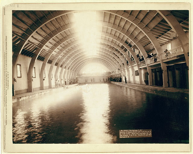 """""""Hot Springs, S.D."""" Interior of largest plunge bath in U.S. on F.E. and M.V. R'y"""