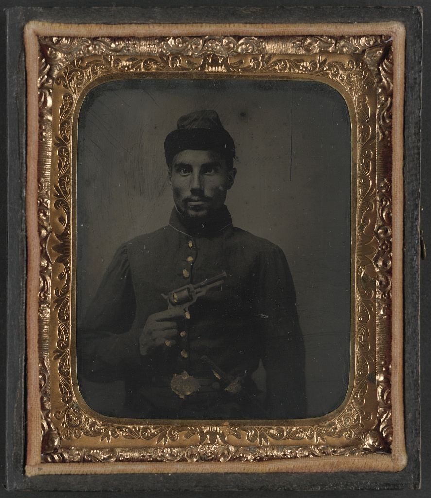 African American Union Soldier with Pistol