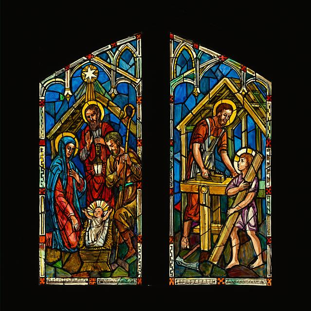 [Design drawing for stained glass window with Nativity; Joseph in the Carpenter's Shop]