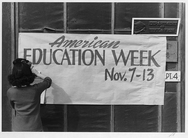 Education Week poster at Manzanar War Relocation Center, 1943 - Ansel Adams, Library of Congress