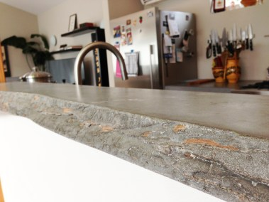 Concrete countertop formed with bark from an onsite cedar tree. Photo by Parie Hines.
