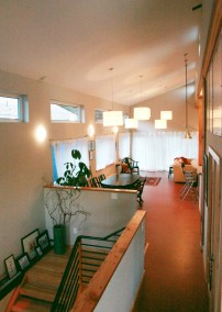 A view towards the dining and living room.