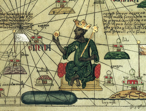 Mansa Musa, Catalan Atlas, drawn by Abraham Cresques of Mallorca, 1375, courtesy of the British Library.