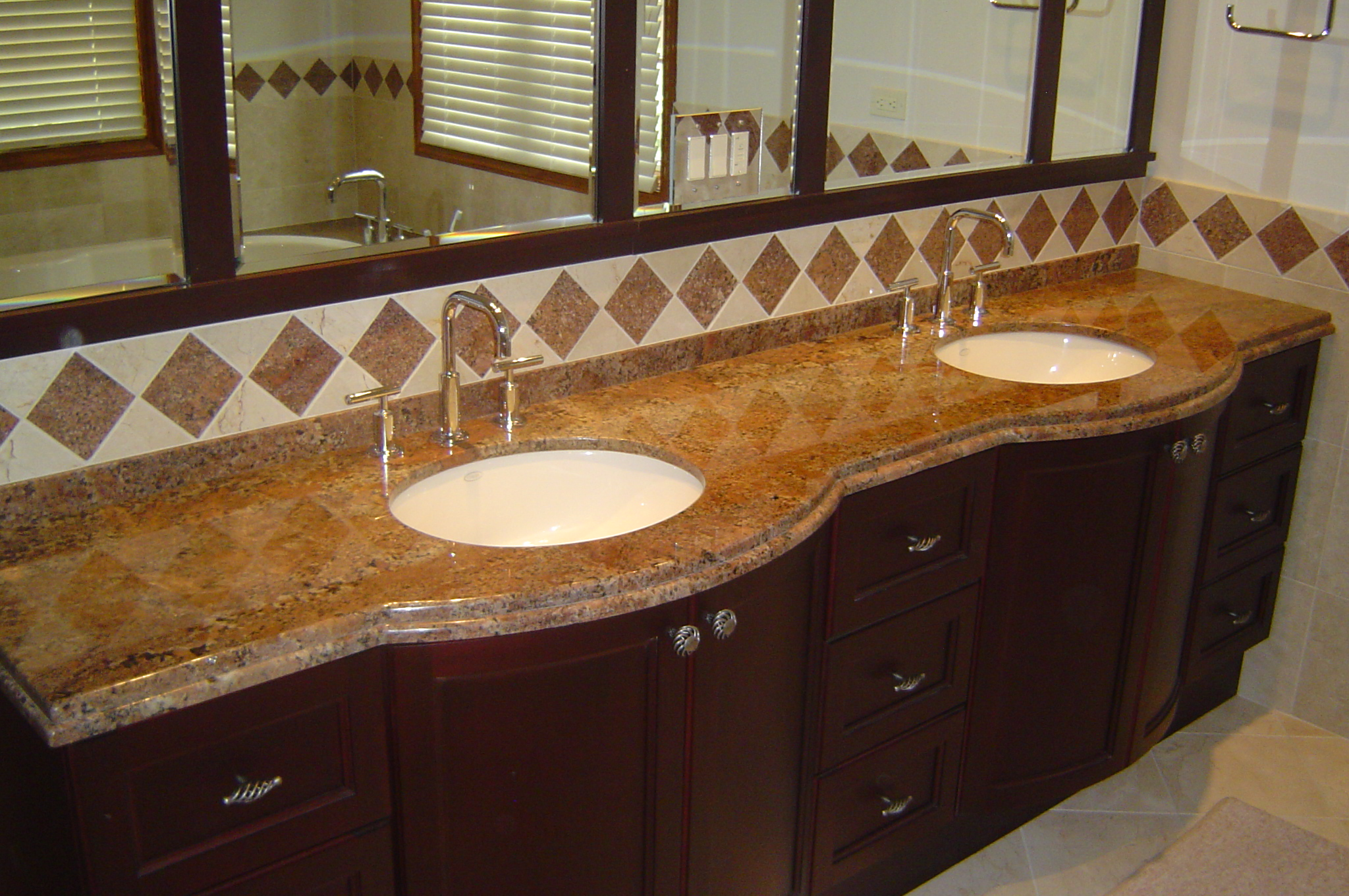 Double edge granite bathroom countertop ldk countertops ldk countertops for Double sink countertop bathroom