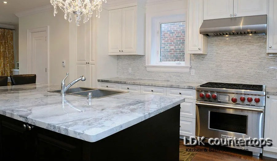 White quartzite countertops - kitchen island