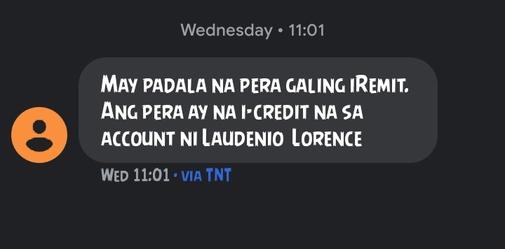 SMS from iRemit.
