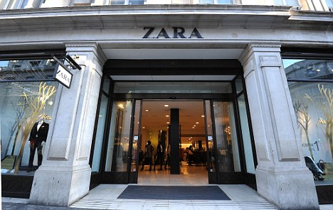 A photograph of the designer clothes store Zara in London.