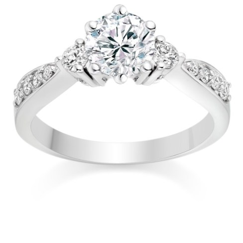 Round Cut 0.73 Carat Three Stone  Engagement Ring in Platinum
