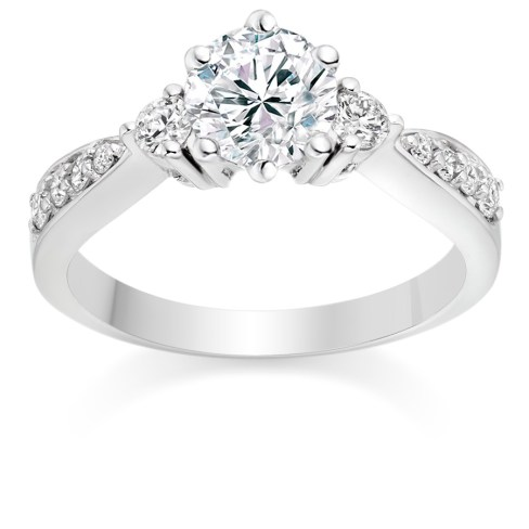 Round Cut 0.73 Carat Three Stone Engagement Ring in Platinum