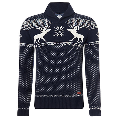 Franklin & Marshall Reindeer Print Shawl Neck Jumper