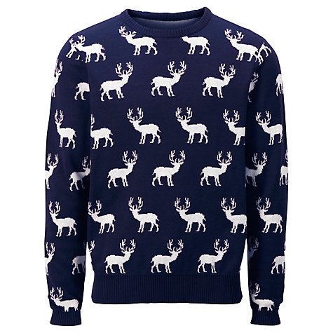Selected Homme Reindeer Navy Crew Neck Jumper