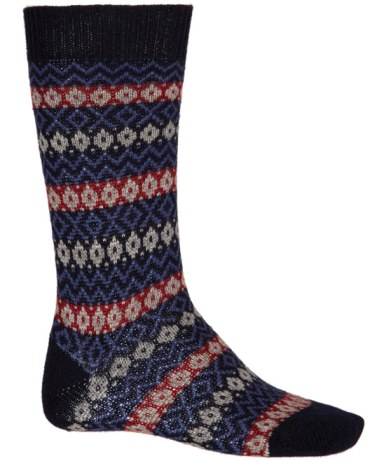 Pantherella Navy Fairisle Print Cashmere-Blend Sock