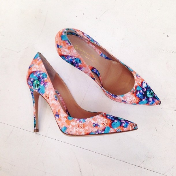 MARY KATRANTZOU Digital Embellishment Printed Satin Pumps