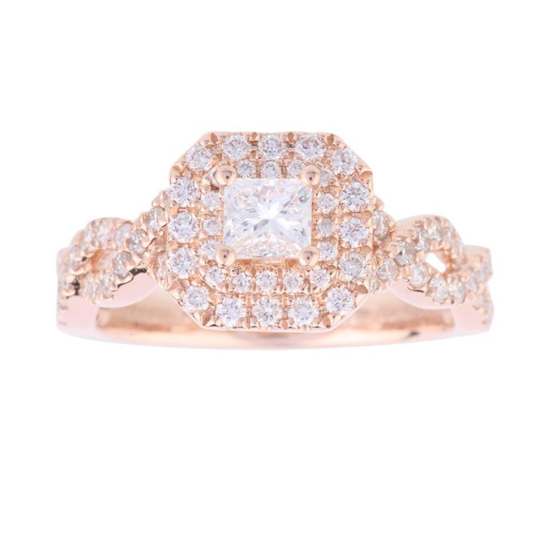 6 - Vera Wang princess cut diamond and diamond cluster ring