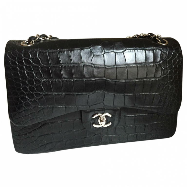 Black Exotic Leather Bag