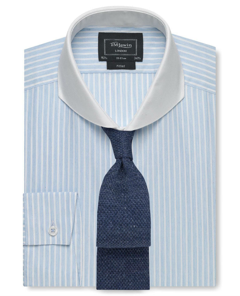 London Fitted Blue Mélange Stripe Curved Cutaway Collar Shirt