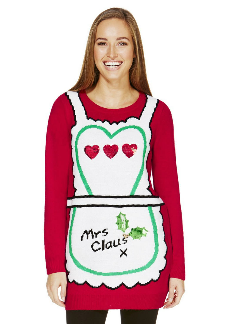 F&F Mrs Claus Long Line Christmas Jumper