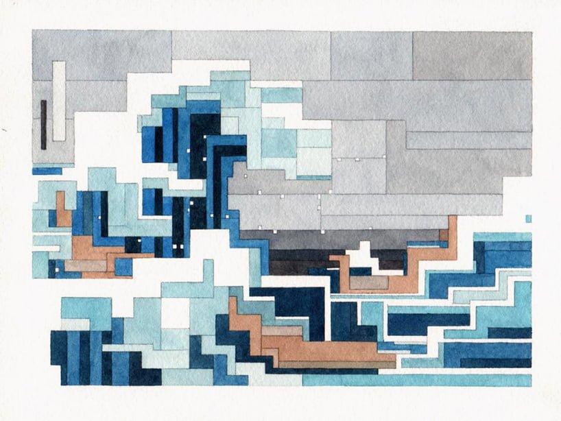 # 這些水彩畫作要瞇著眼睛看: Adam Lister 汲取藝術作及流行文化的8位元水彩作品 5