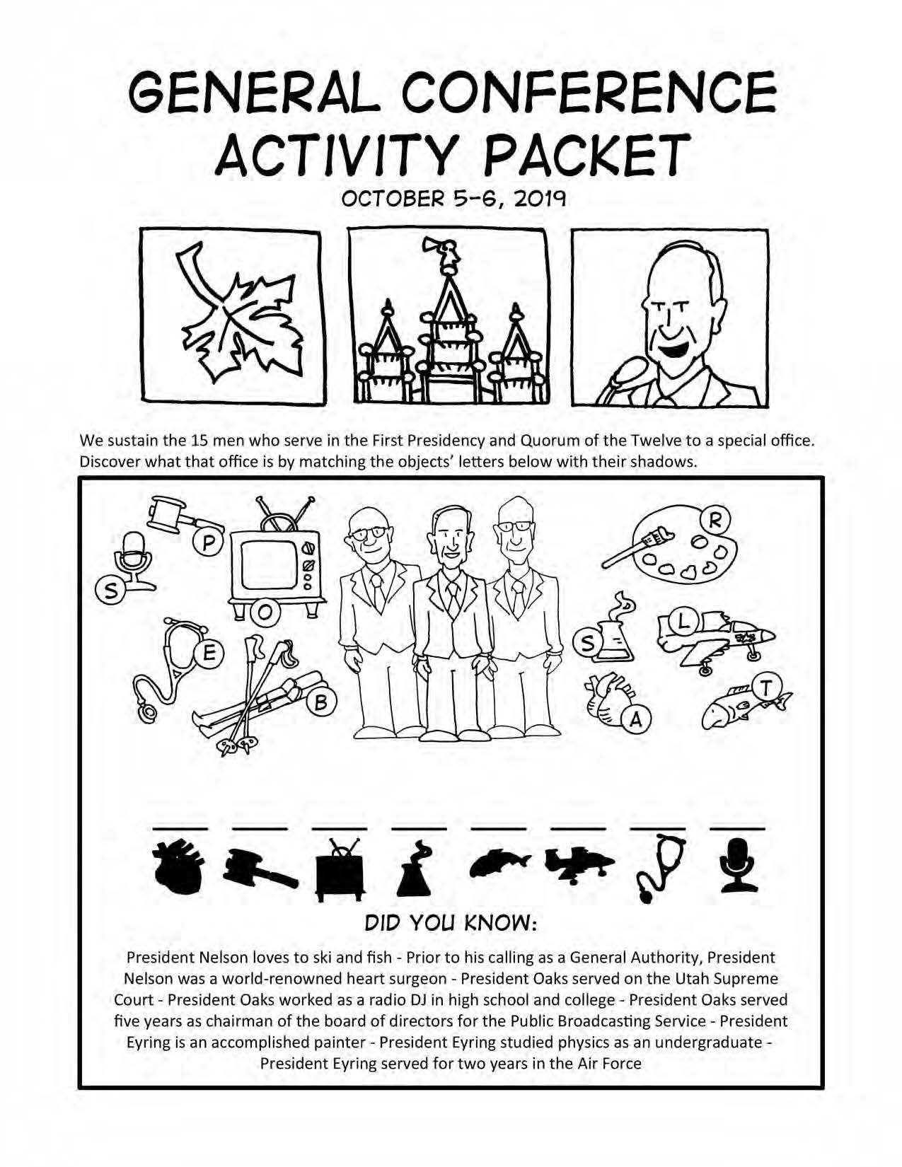 Free General Conference Activity Coloring Activity