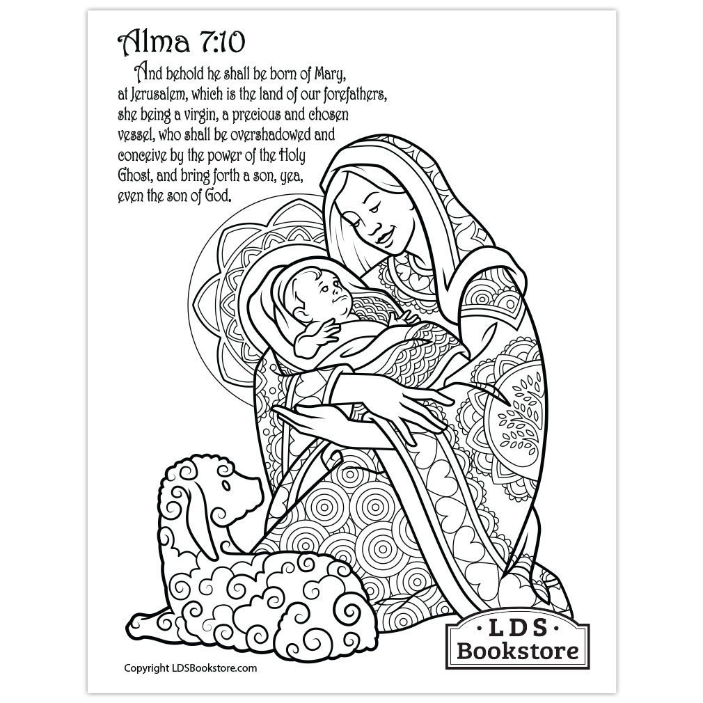 Mary Baby Jesus Coloring Page Printable