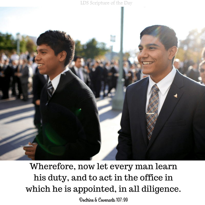 Wherefore, now let every man learn his duty, and to act in the office in which he is appointed, in all diligence. Doctrine & Covenants 107:99 Read in scriptures: http://bit.ly/1Zcpsy0