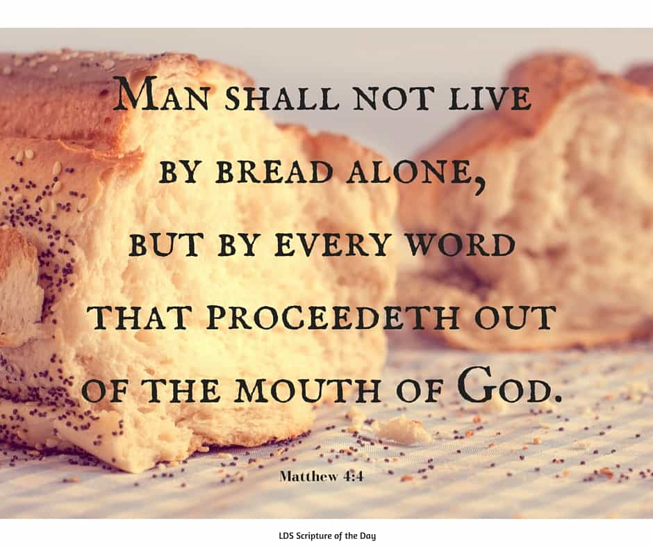 Man shall not live by bread alone, but by every word that proceedeth out of the mouth of God. Matthew 4:4