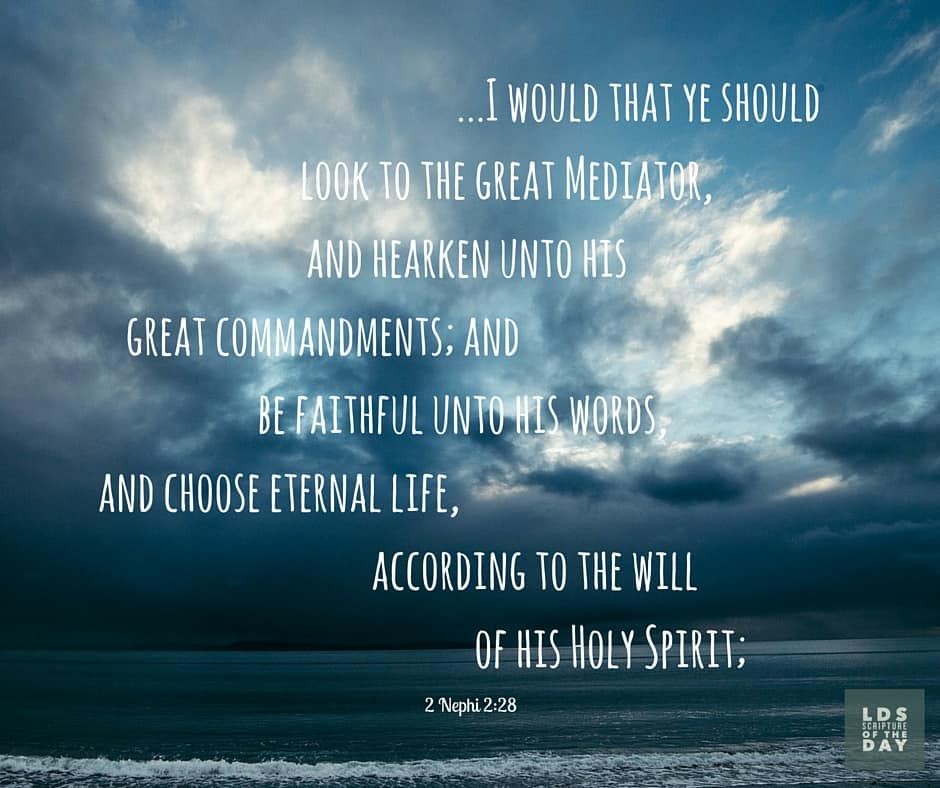 ...I would that ye should look to the great Mediator, and hearken unto his great commandments; and be faithful unto his words, and choose eternal life, according to the will of his Holy Spirit; 2 Nephi 2:28