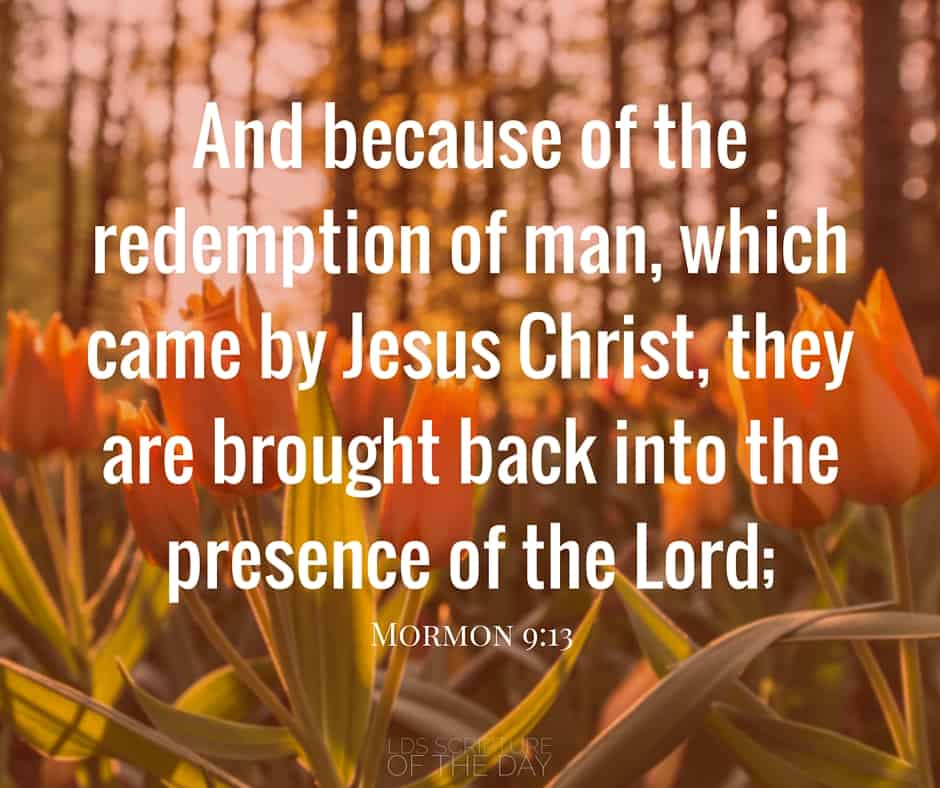 And because of the redemption of man, which came by Jesus Christ, they are brought back into the presence of the Lord; Mormon 9:13