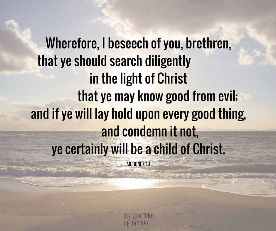 Wherefore, I beseech of you, brethren, that ye should search diligently in the light of Christ that ye may know good from evil; and if ye will lay hold upon every good thing, and condemn it not, ye certainly will be a child of Christ. Moroni 7:19
