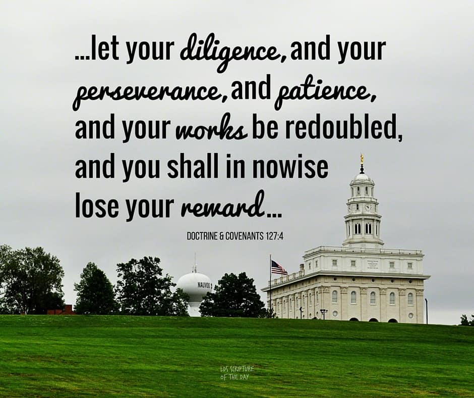 Let the work of my temple, and all the works which I have appointed unto you, be continued on and not cease; and let your diligence, and your perseverance, and patience, and your works be redoubled, and you shall in nowise lose your reward... Doctrine & Covenants 127:4