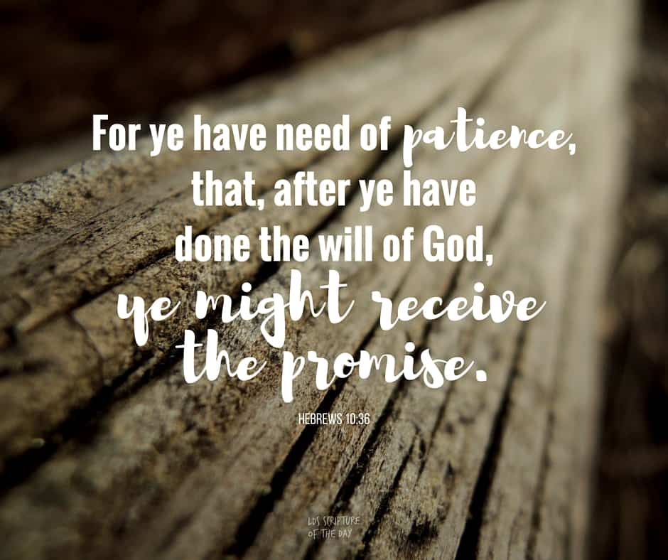 For ye have need of patience, that, after ye have done the will of God, ye might receive the promise. Hebrews 10:36