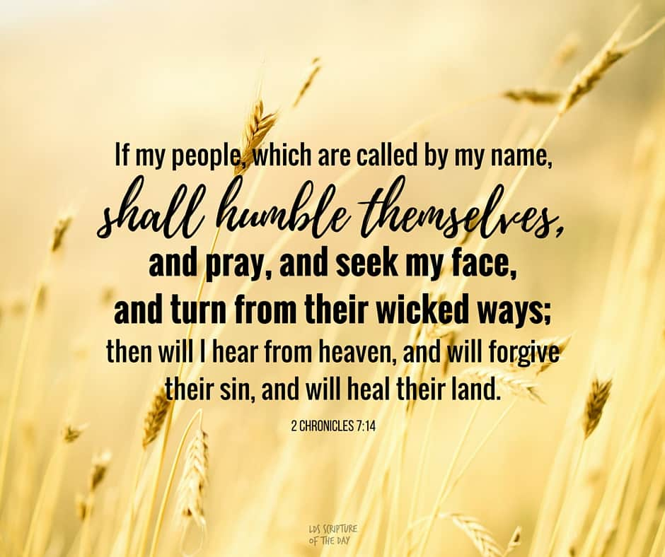 If my people, which are called by my name, shall humble themselves, and pray, and seek my face, and turn from their wicked ways; then will I hear from heaven, and will forgive their sin, and will heal their land. 2 Chronicles 7:14