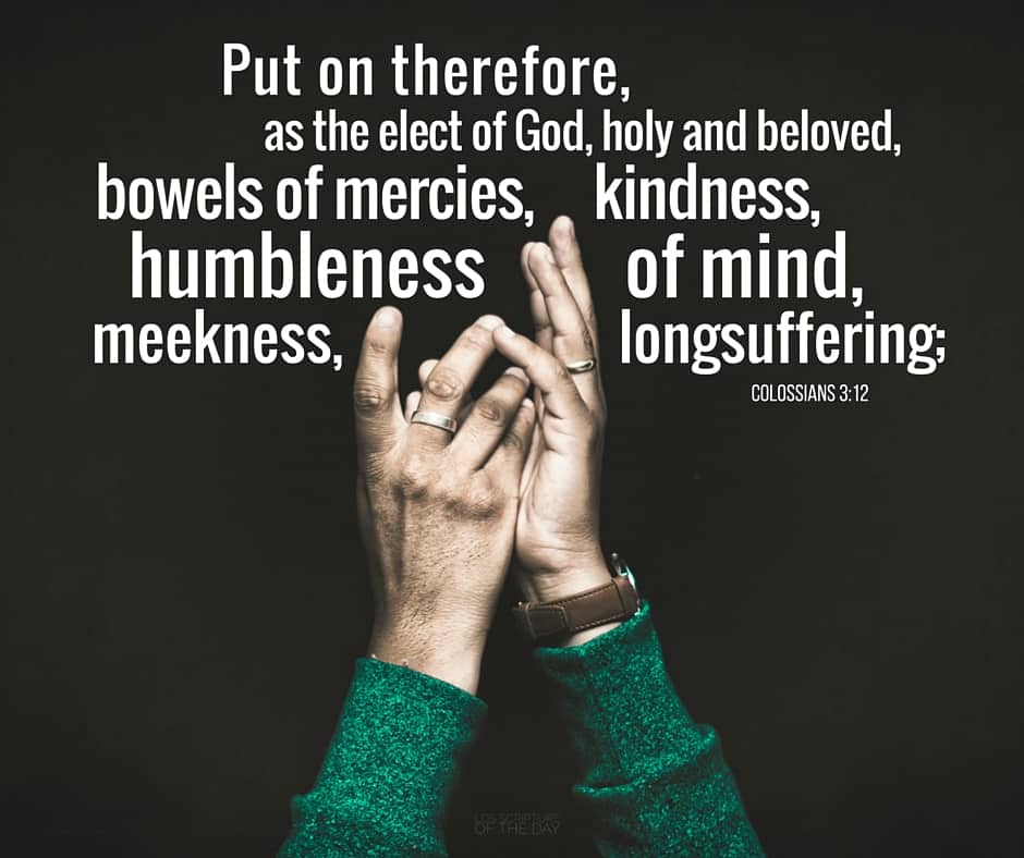 Put on therefore, as the elect of God, holy and beloved, bowels of mercies, kindness, humbleness of mind, meekness, longsuffering; Colossians 3:12