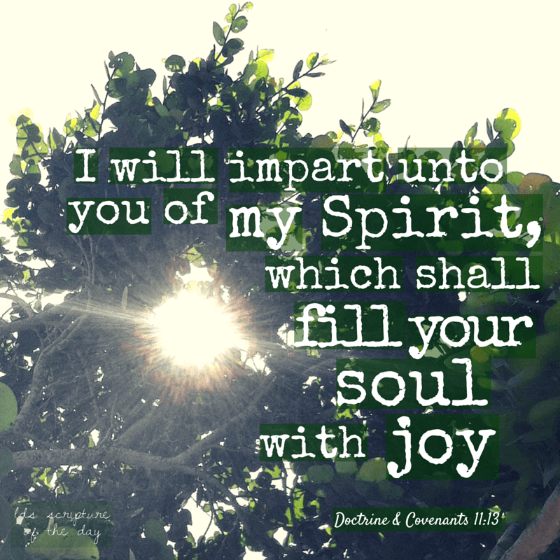 …I will impart unto you of my Spirit, which shall enlighten your mind, which shall fill your soul with joy; Doctrine & Covenants 11:13