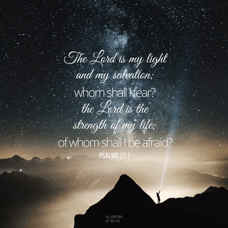 The Lord is my light and my salvation; whom shall I fear? the Lord is the strength of my life; of whom shall I be afraid? Psalms 27:1
