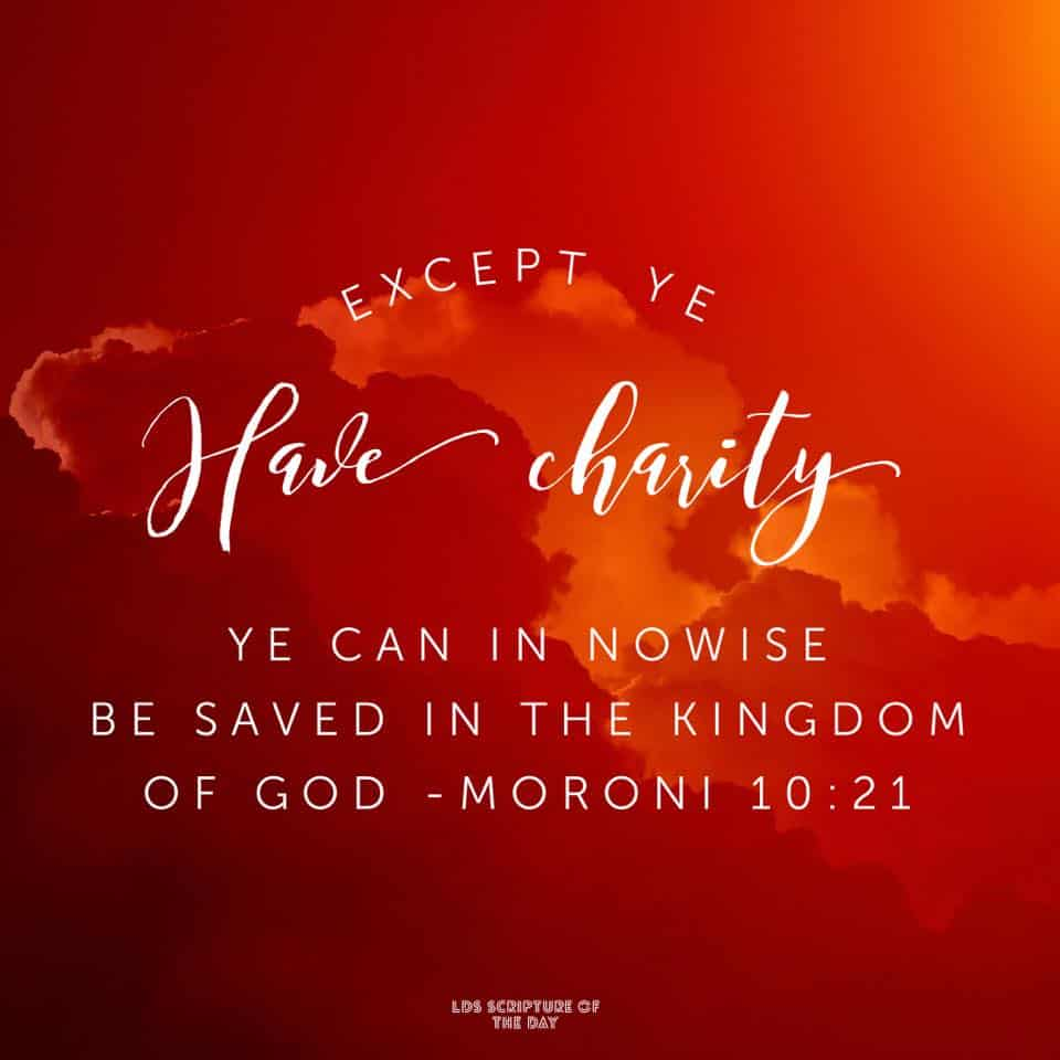 Except ye have charity ye can in nowise be saved in the kingdom of God; neither can ye be saved in the kingdom of God if ye have not faith; neither can ye if ye have no hope. Moroni 10:21