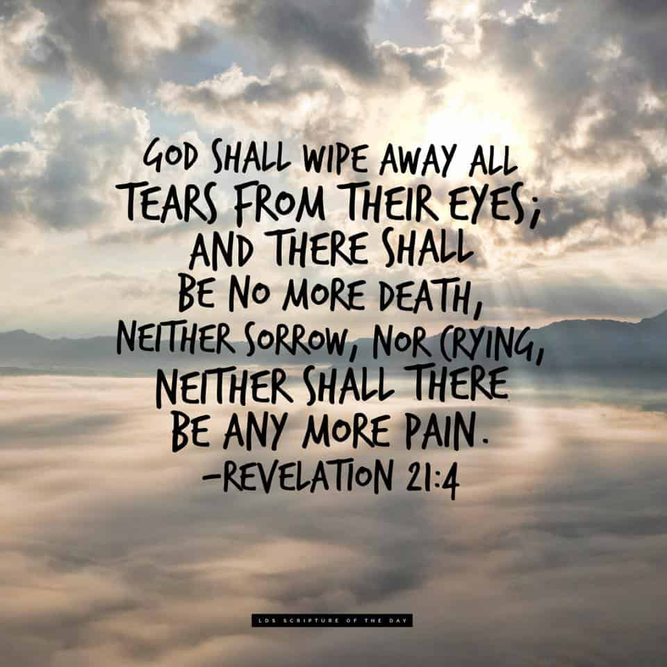 And God shall wipe away all tears from their eyes; and there shall be no more death, neither sorrow, nor crying, neither shall there be any more pain... Revelation 21:4