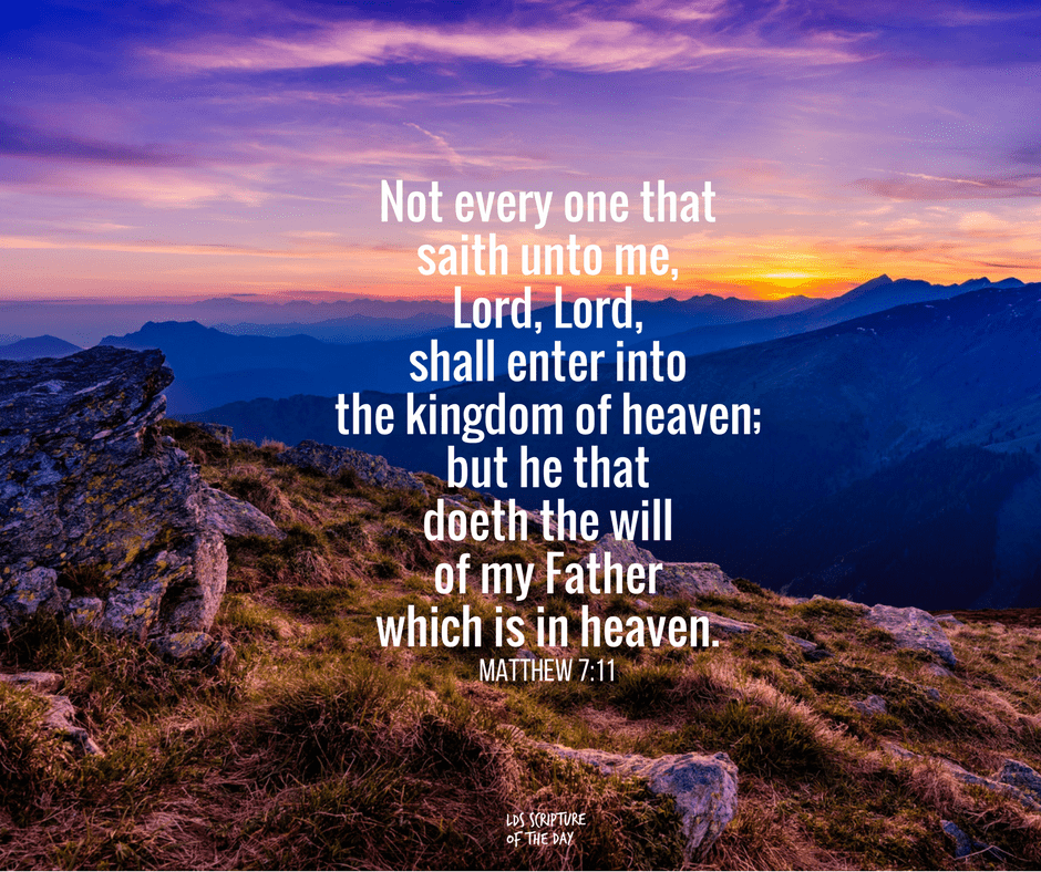 Not every one that saith unto me, Lord, Lord, shall enter into the kingdom of heaven; but he that doeth the will of my Father which is in heaven. Matthew 7:11