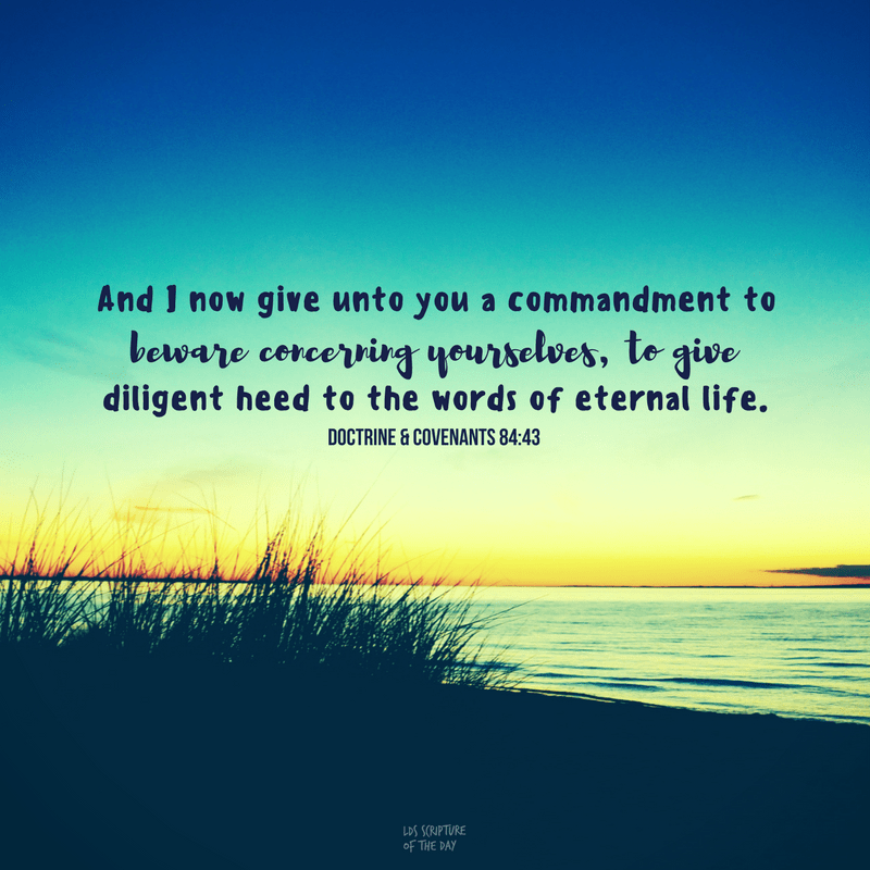 And I now give unto you a commandment to beware concerning yourselves, to give diligent heed to the words of eternal life. Doctrine & Covenants 84:43