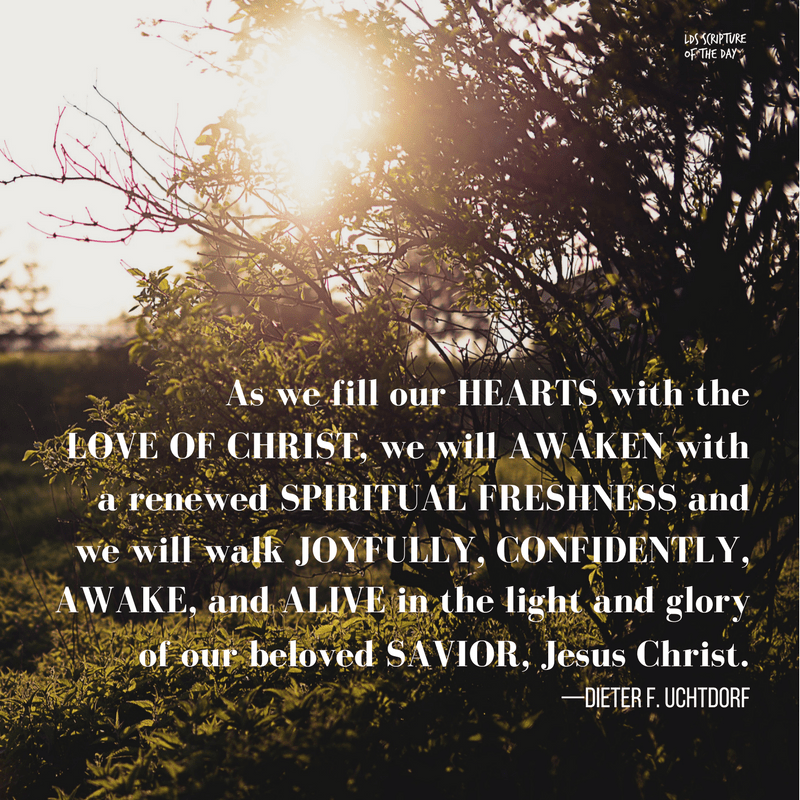 As we fill our hearts with the love of Christ, we will awaken with a renewed spiritual freshness and we will walk joyfully, confidently, awake, and alive in the light and glory of our beloved Savior, Jesus Christ. —Dieter F. Uchtdorf