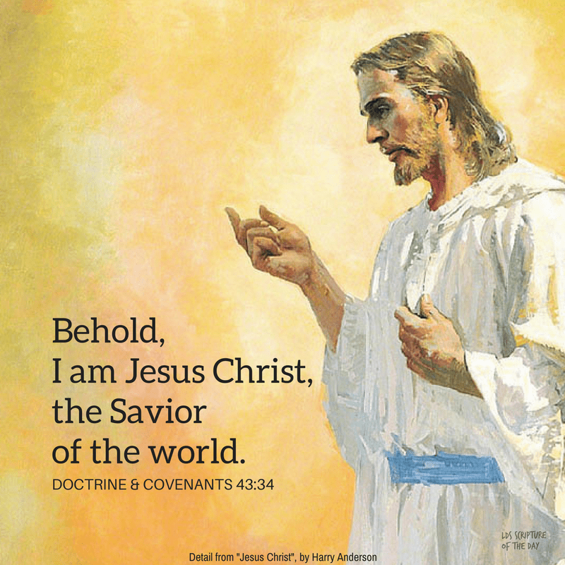 Behold, I am Jesus Christ, the Savior of the world.  Doctrine & Covenants 43:34