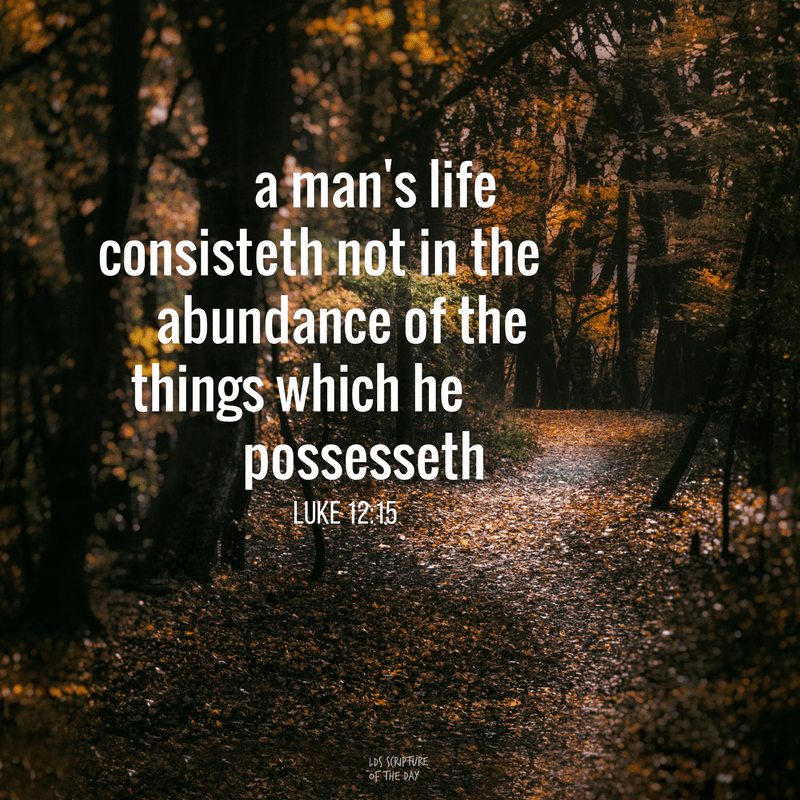 A man's life consisteth not in the abundance of the things which he possesseth.—Luke 12:15