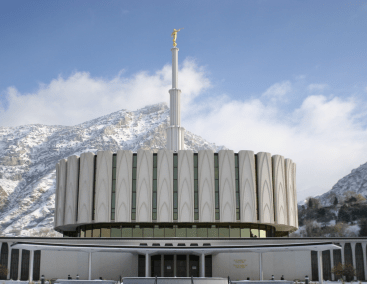 """Provo Temple featuring potential """"Pillar of fire"""" and """"everlasting burnings"""", © 2007, Brian Davis"""