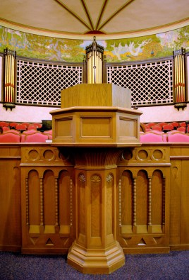 Granite Stake Tabernacle Octagon-shaped Pulpit, from ldsarchitecture.wordpress.com