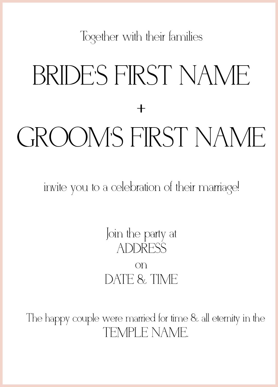 8 LDS Wedding Invitation Wording Samples | LDS Wedding
