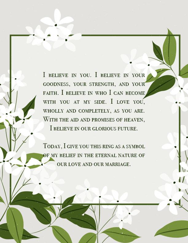 LDS Ring Ceremony Wording #2 - I Believe