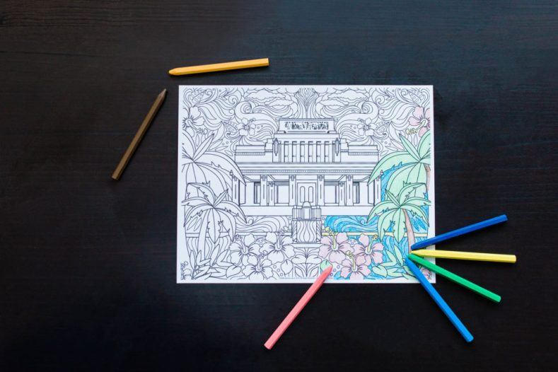 LDS Weddng Favors - Temple Coloring Page