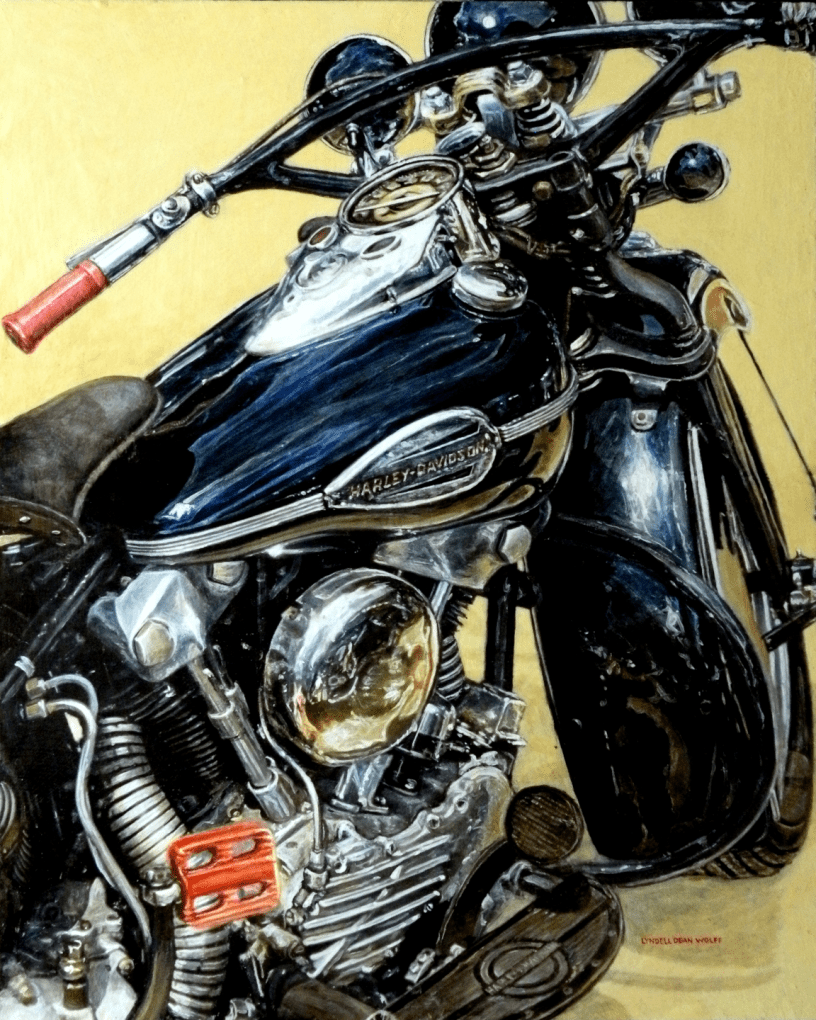 Acrylic on panel original painting titled 1947 FL Knucklehead Wabi-Sabi 01 by Lyndell Dean Wolff