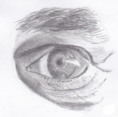 Détail oeil homme au crayon graphite