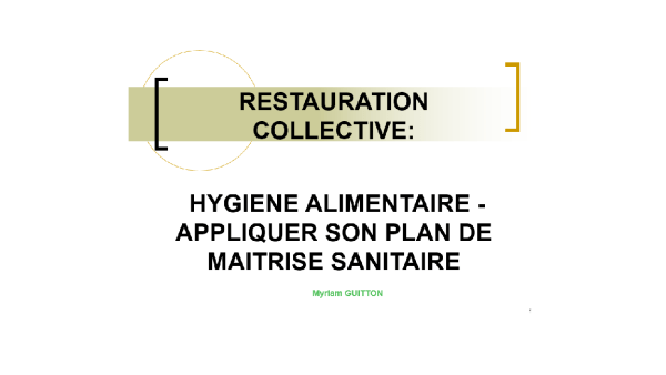 Formation HACCP PMS restauration collective